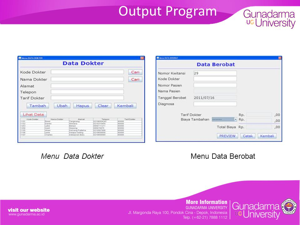 Output Program Menu Data Dokter Menu Data Berobat