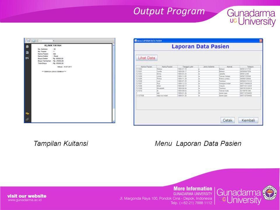 Output Program Tampilan Kuitansi Menu Laporan Data Pasien