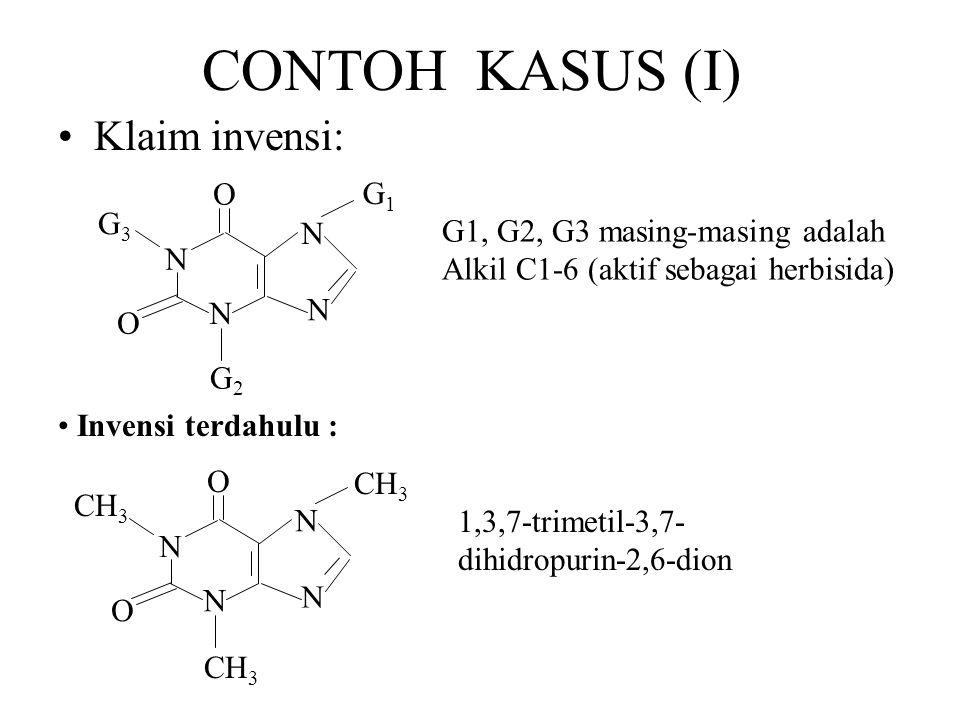 CONTOH KASUS (I) Klaim invensi: N O G1 G2 G3