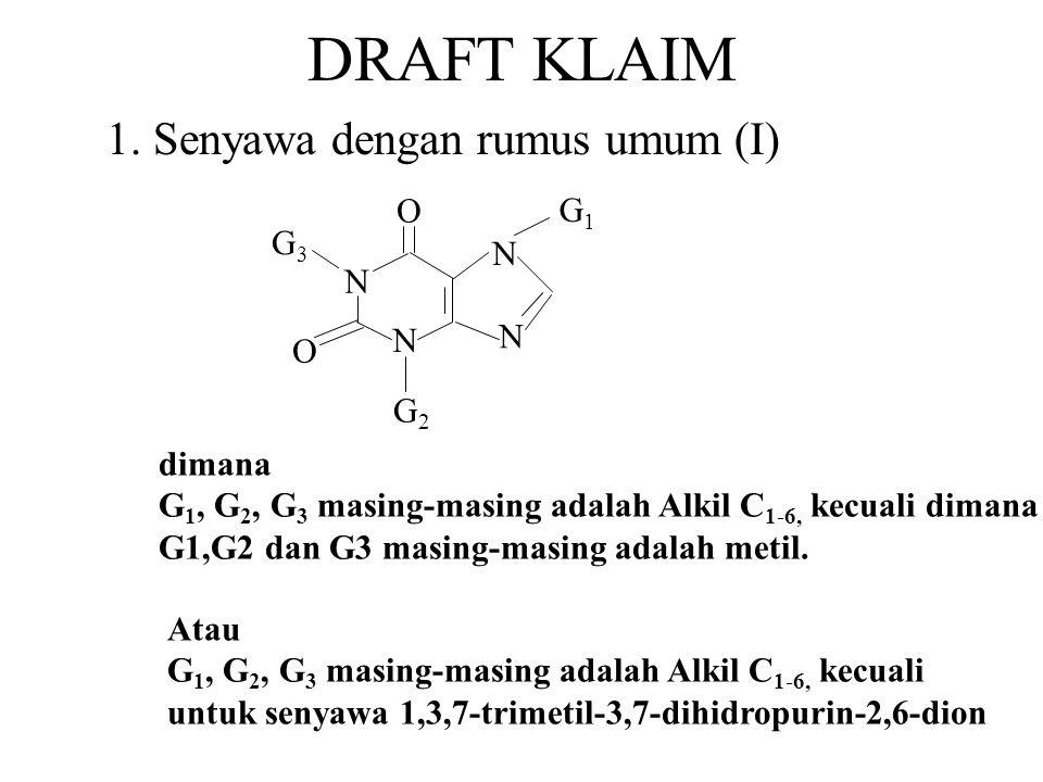 DRAFT KLAIM 1. Senyawa dengan rumus umum (I) N O G1 G2 G3 dimana