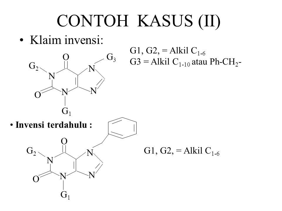 CONTOH KASUS (II) Klaim invensi: G1, G2, = Alkil C1-6