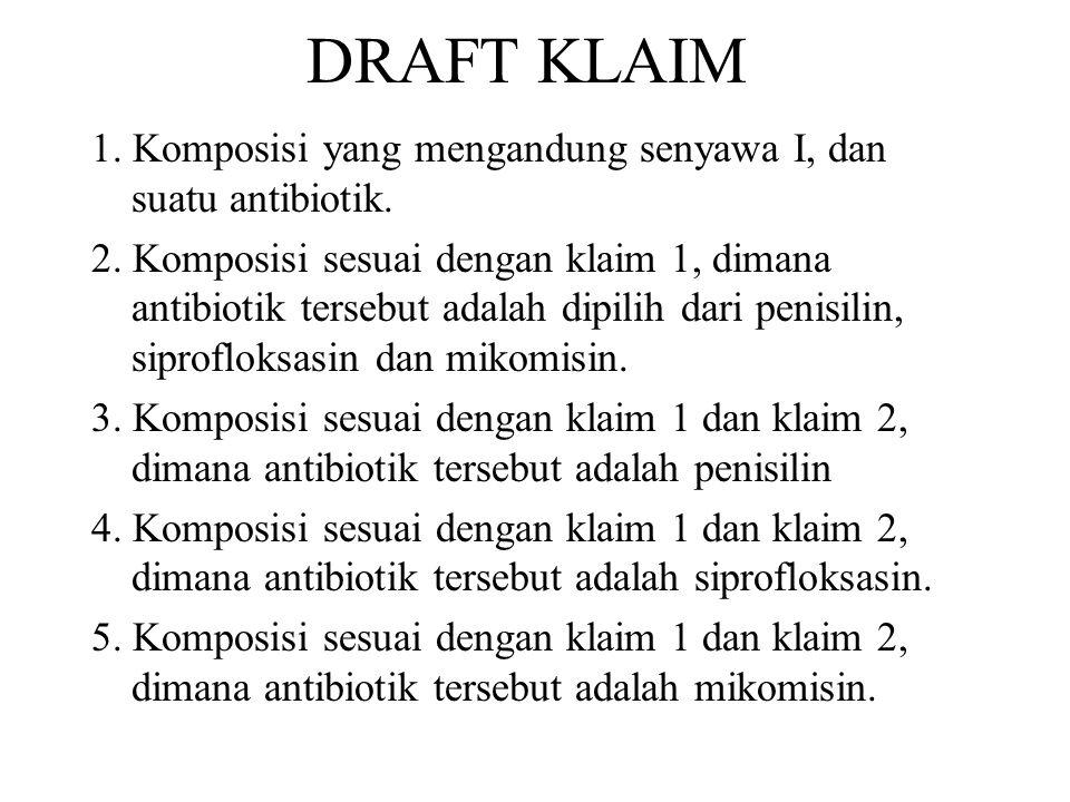 DRAFT KLAIM 1. Komposisi yang mengandung senyawa I, dan suatu antibiotik.