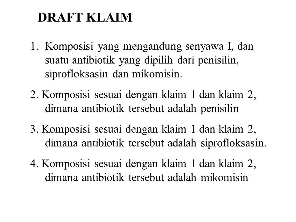DRAFT KLAIM Komposisi yang mengandung senyawa I, dan suatu antibiotik yang dipilih dari penisilin, siprofloksasin dan mikomisin.
