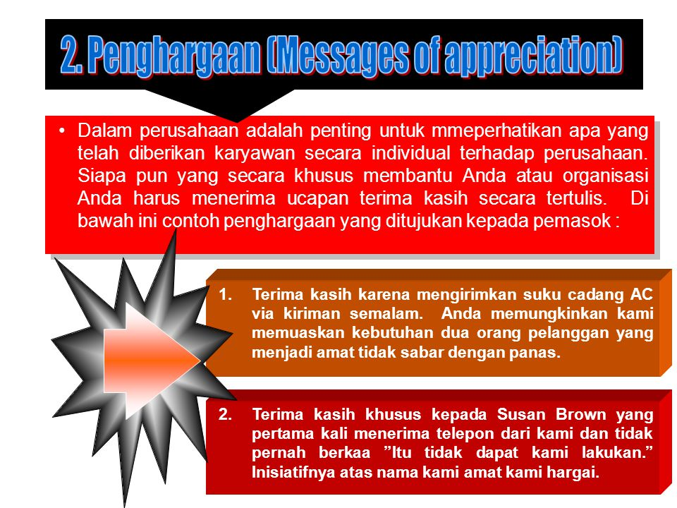 2. Penghargaan (Messages of appreciation)