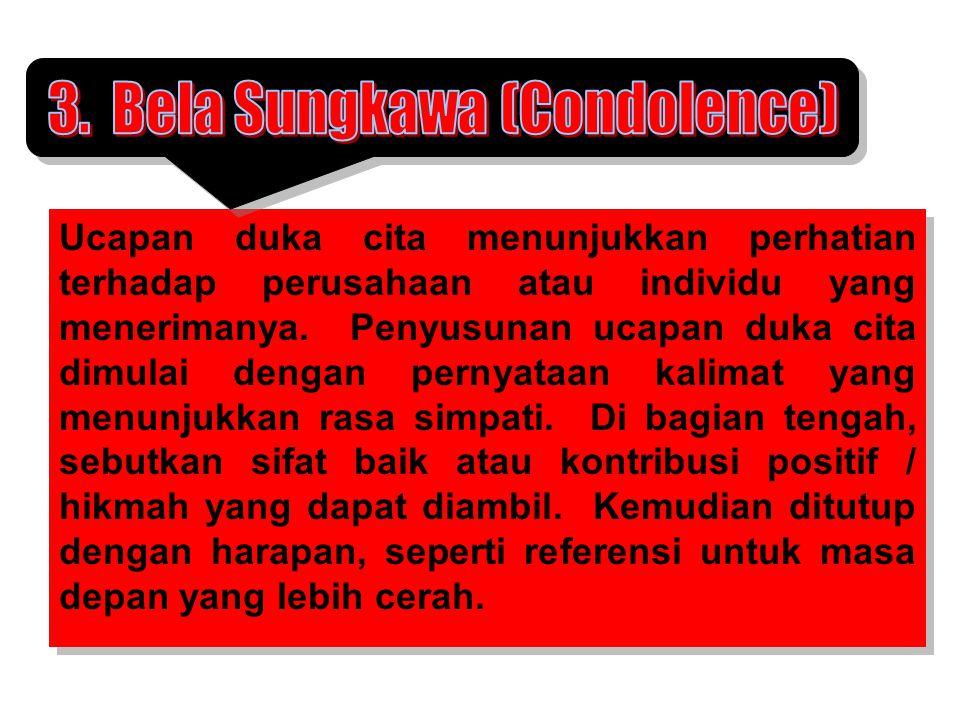 3. Bela Sungkawa (Condolence)
