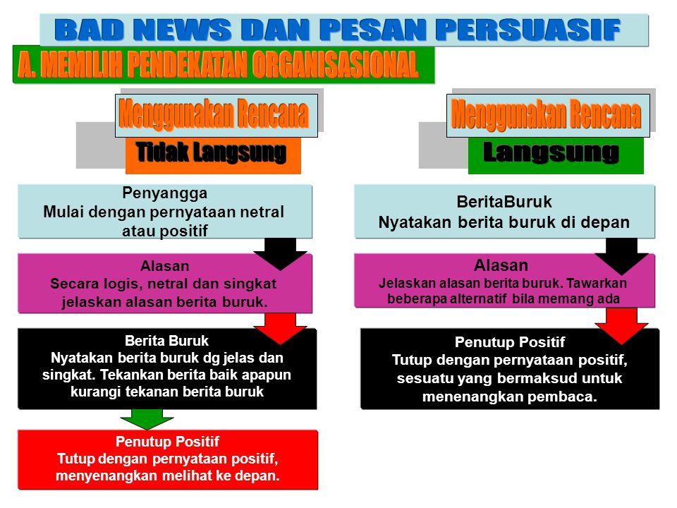 BAD NEWS DAN PESAN PERSUASIF A. MEMILIH PENDEKATAN ORGANISASIONAL