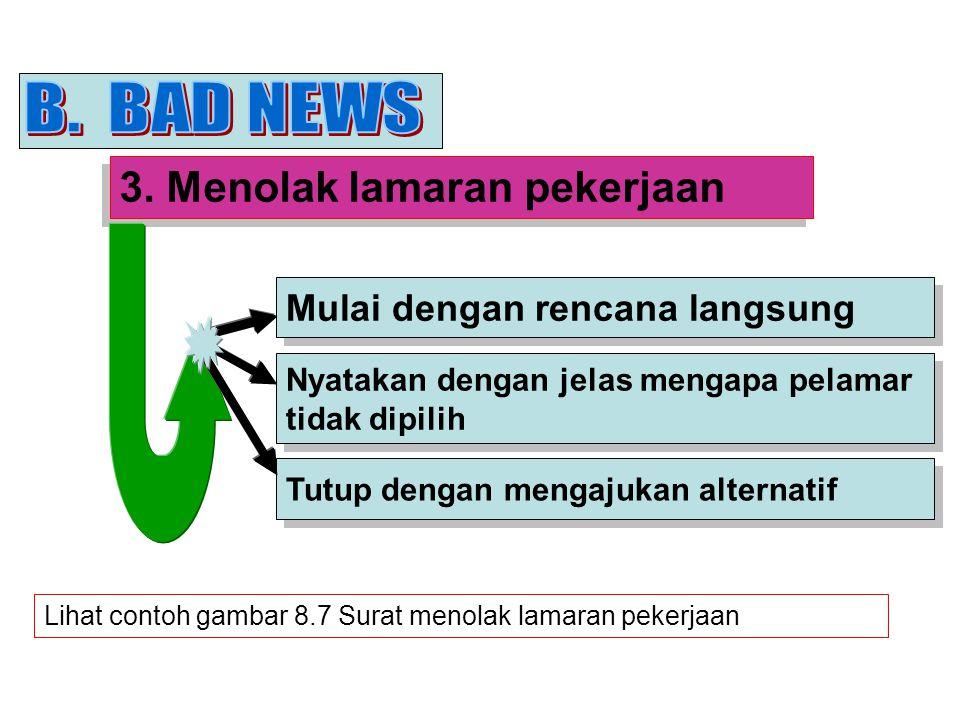 B. BAD NEWS 3. Menolak lamaran pekerjaan Mulai dengan rencana langsung