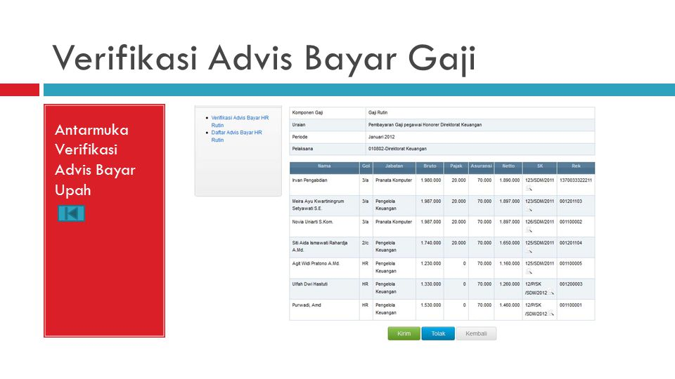 Verifikasi Advis Bayar Gaji