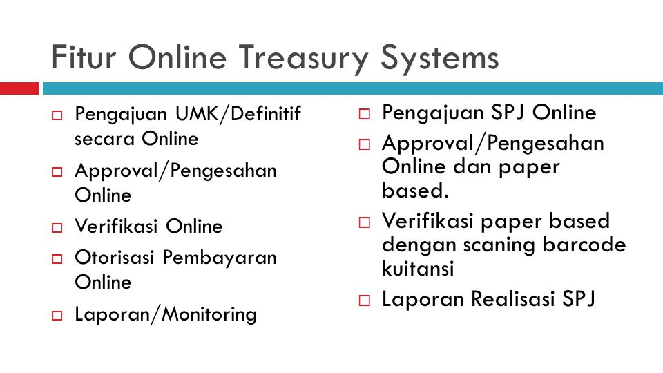 Fitur Online Treasury Systems