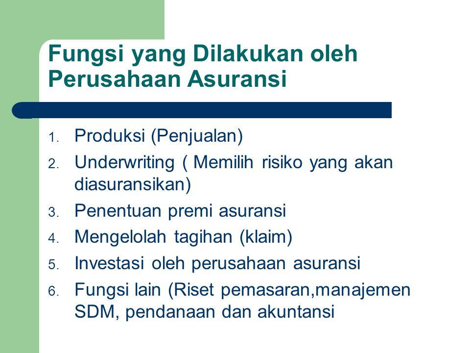 Fungsi yang Dilakukan oleh Perusahaan Asuransi