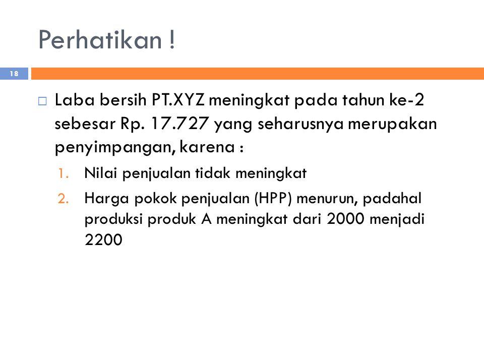 Perhatikan ! Laba bersih PT.XYZ meningkat pada tahun ke-2 sebesar Rp. 17.727 yang seharusnya merupakan penyimpangan, karena :