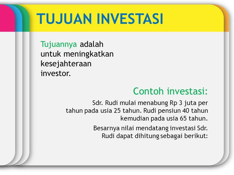 TUJUAN INVESTASI Contoh investasi: