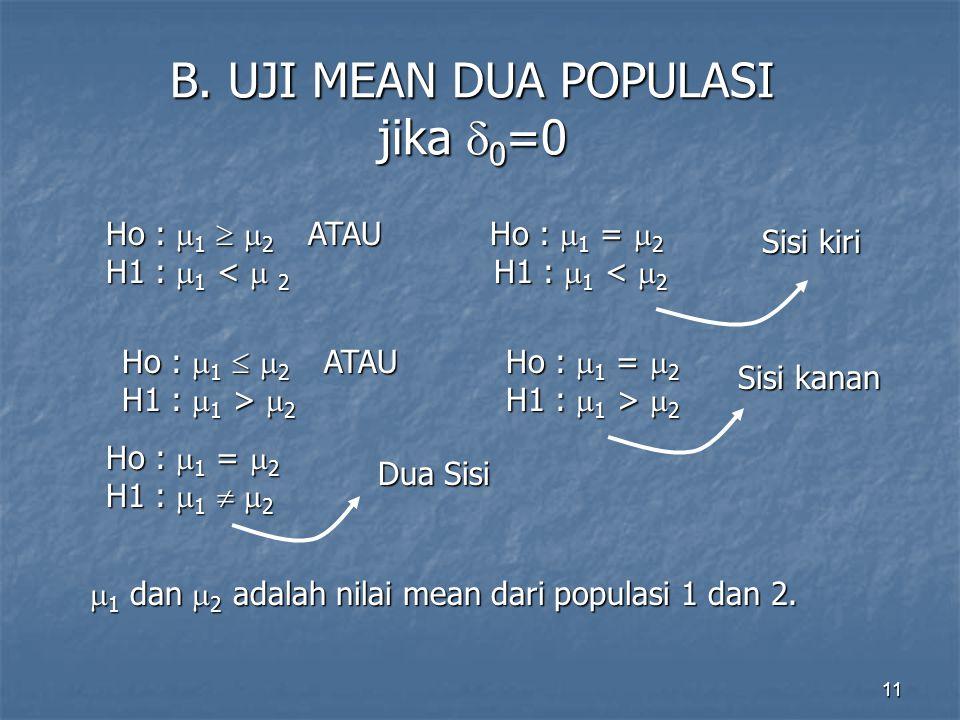 B. UJI MEAN DUA POPULASI jika 0=0