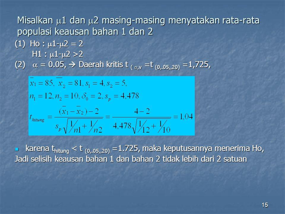 Misalkan 1 dan 2 masing-masing menyatakan rata-rata populasi keausan bahan 1 dan 2