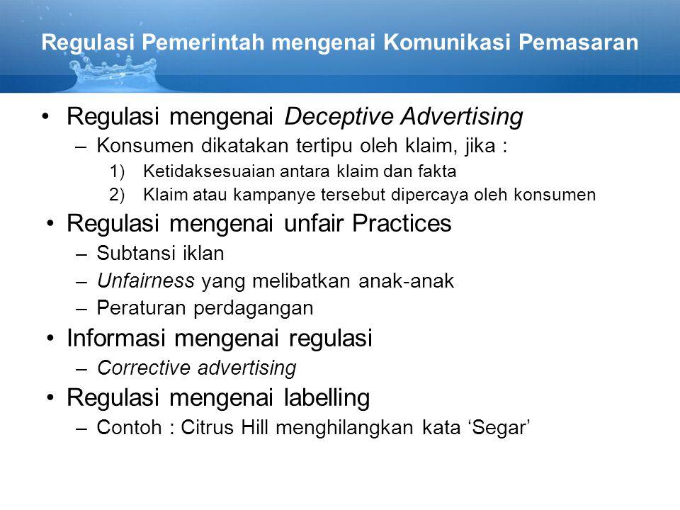 Regulasi Pemerintah mengenai Komunikasi Pemasaran