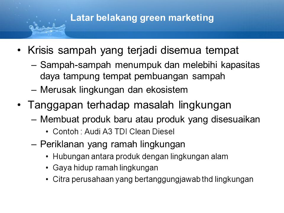 Latar belakang green marketing