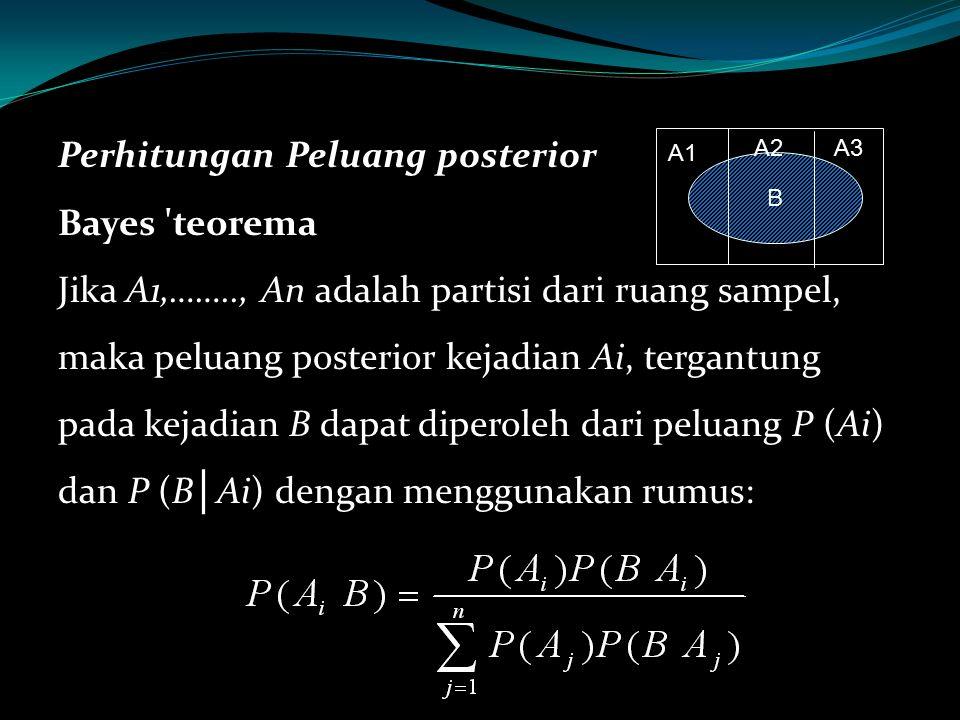 Perhitungan Peluang posterior Bayes teorema Jika A1,……