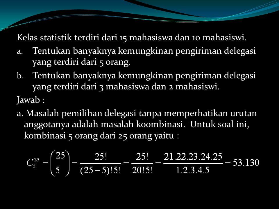 Kelas statistik terdiri dari 15 mahasiswa dan 10 mahasiswi.