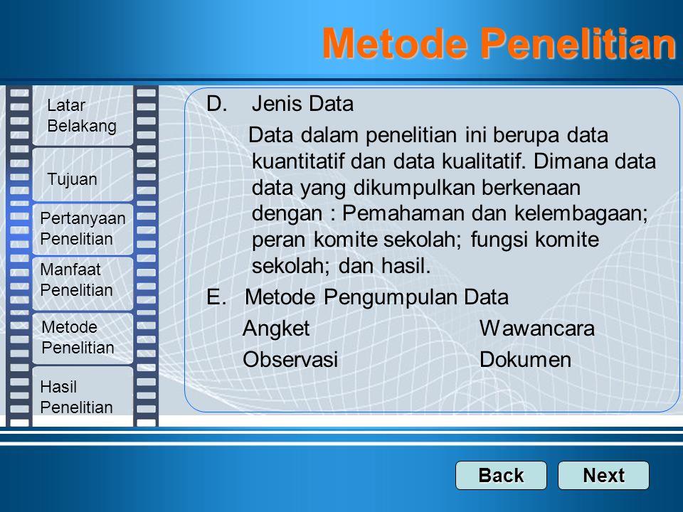 Metode Penelitian Jenis Data