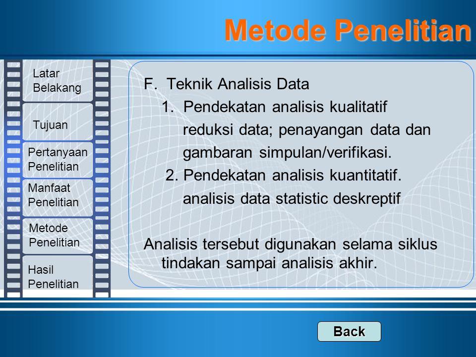 Metode Penelitian F. Teknik Analisis Data