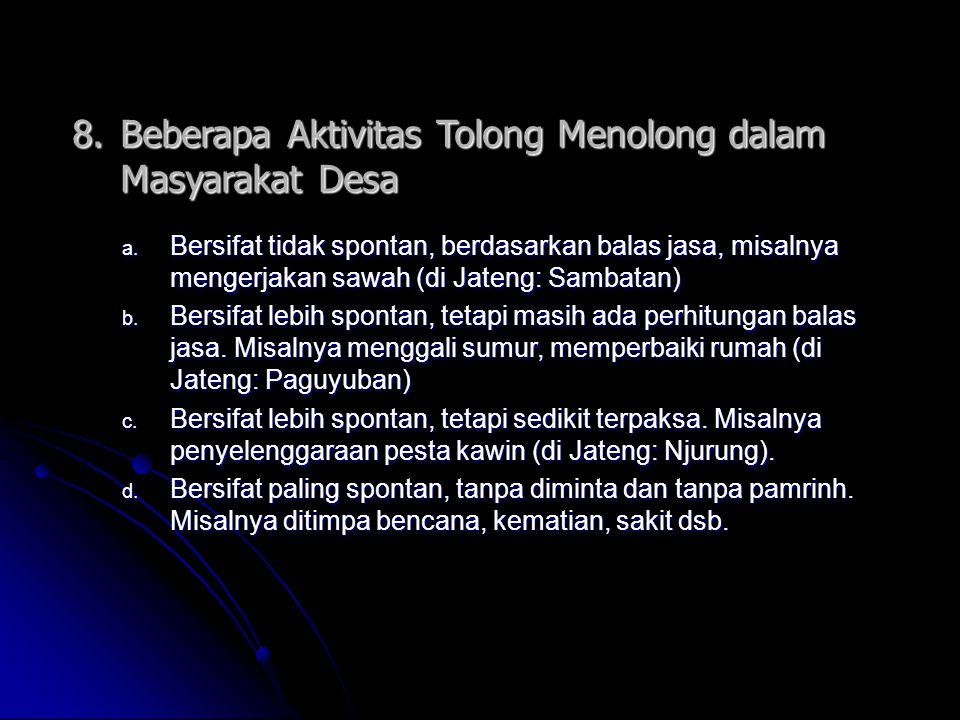 8. Beberapa Aktivitas Tolong Menolong dalam Masyarakat Desa