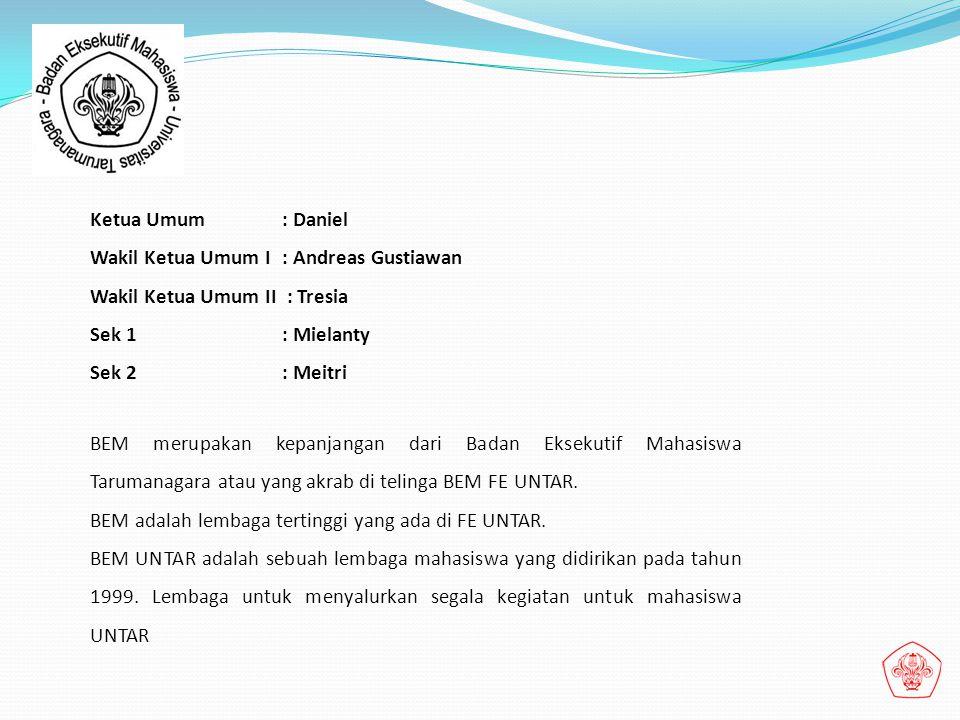 Ketua Umum : Daniel Wakil Ketua Umum I : Andreas Gustiawan. Wakil Ketua Umum II : Tresia. Sek 1 : Mielanty.