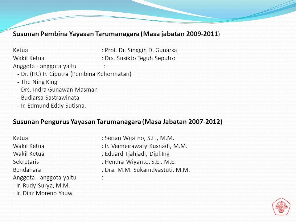 Susunan Pembina Yayasan Tarumanagara (Masa jabatan 2009-2011)