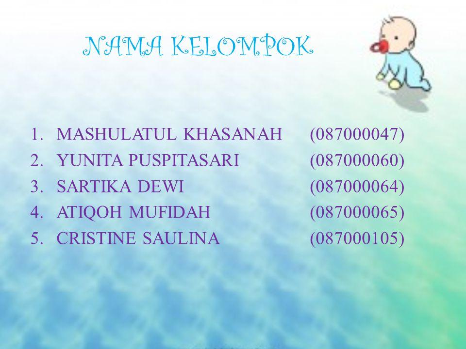 NAMA KELOMPOK MASHULATUL KHASANAH (087000047)