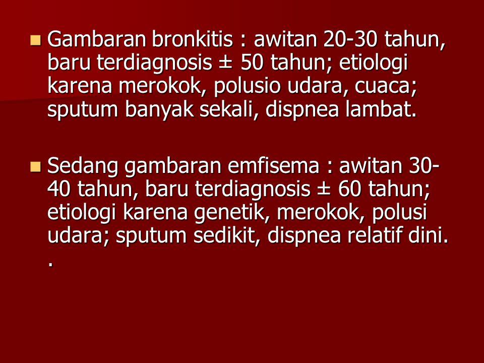 Gambaran bronkitis : awitan 20-30 tahun, baru terdiagnosis ± 50 tahun; etiologi karena merokok, polusio udara, cuaca; sputum banyak sekali, dispnea lambat.
