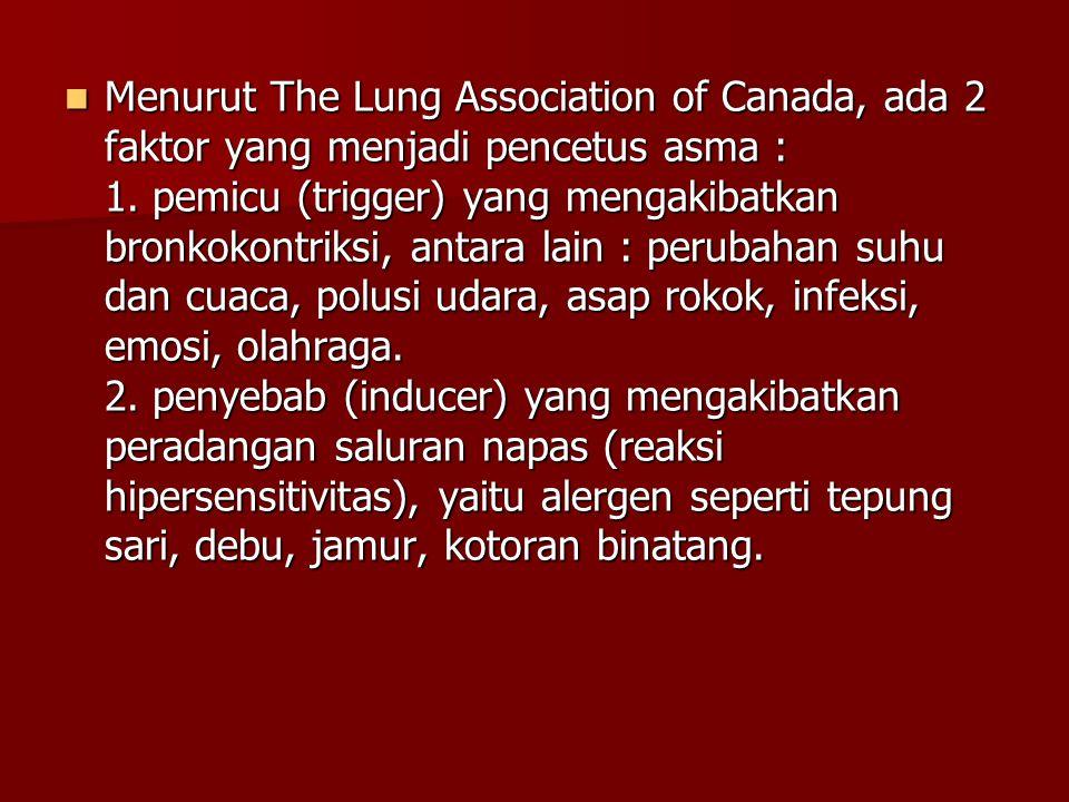 Menurut The Lung Association of Canada, ada 2 faktor yang menjadi pencetus asma : 1.