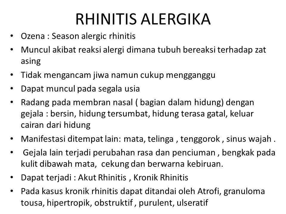RHINITIS ALERGIKA Ozena : Season alergic rhinitis