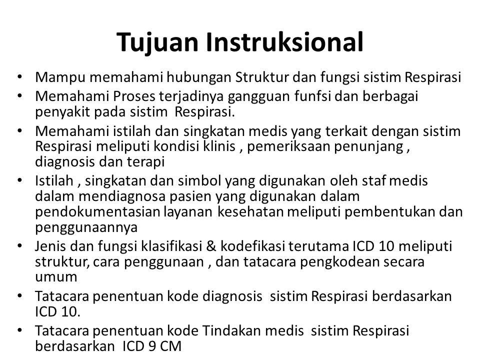 Tujuan Instruksional Mampu memahami hubungan Struktur dan fungsi sistim Respirasi.