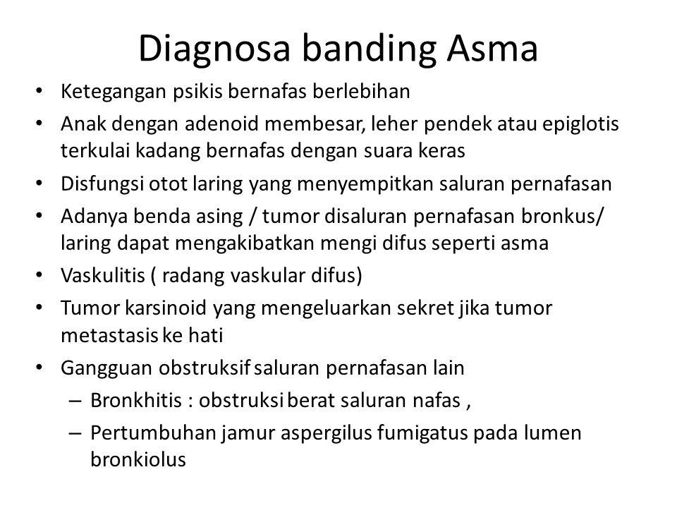 Diagnosa banding Asma Ketegangan psikis bernafas berlebihan