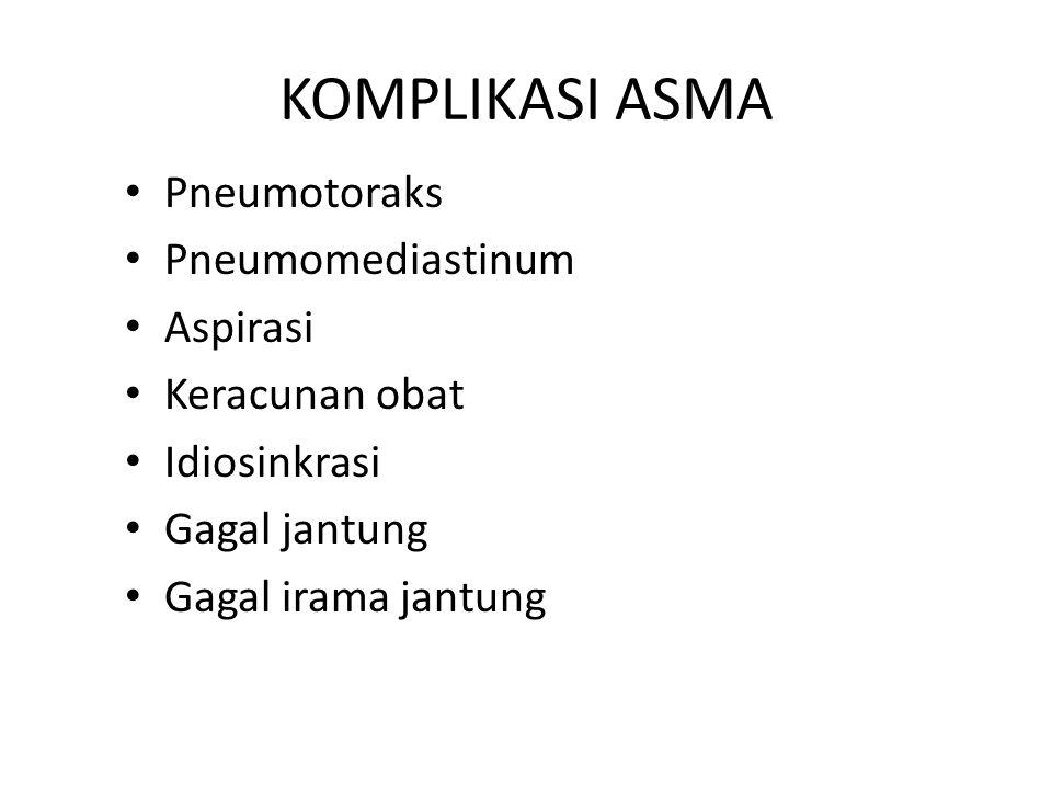 KOMPLIKASI ASMA Pneumotoraks Pneumomediastinum Aspirasi Keracunan obat