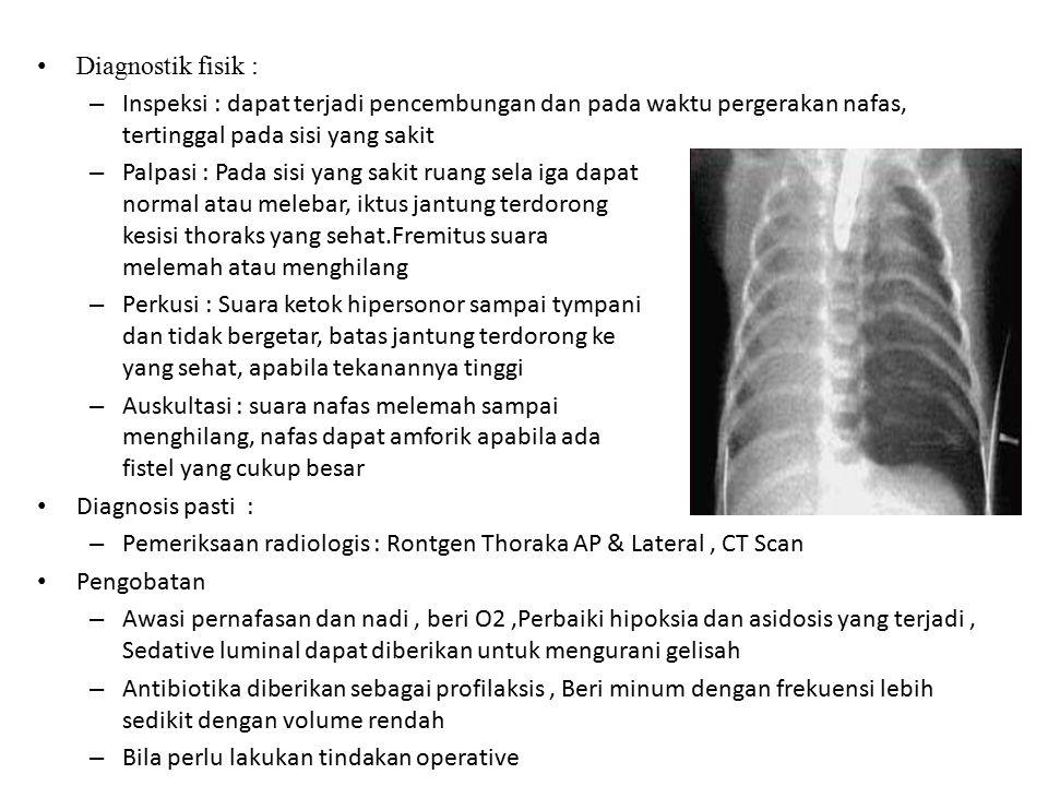 Diagnostik fisik : Inspeksi : dapat terjadi pencembungan dan pada waktu pergerakan nafas, tertinggal pada sisi yang sakit.