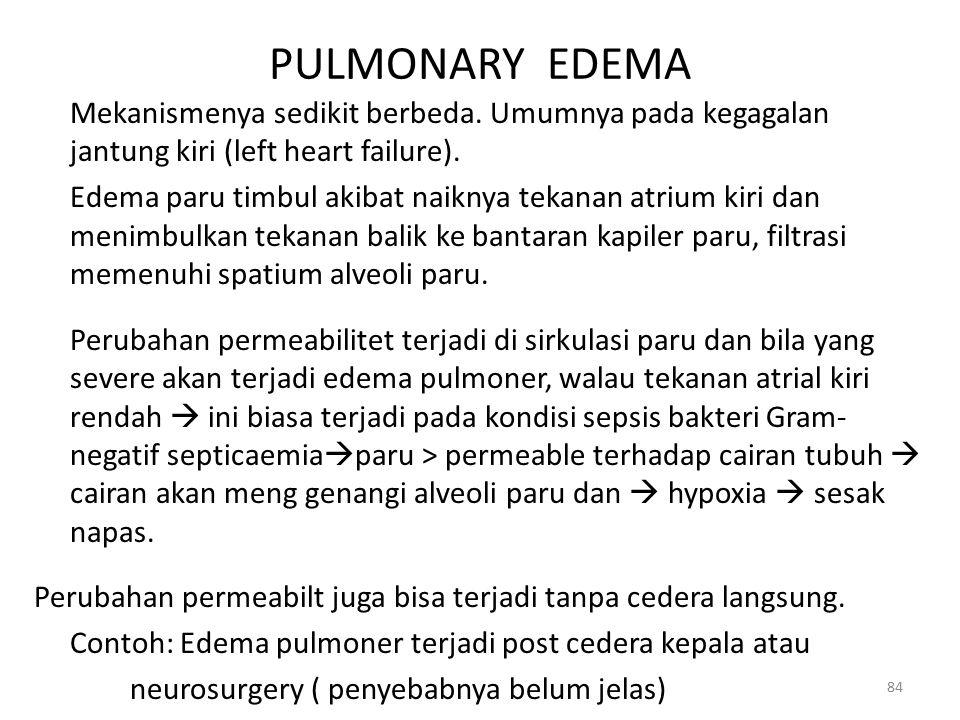 PULMONARY EDEMA Mekanismenya sedikit berbeda. Umumnya pada kegagalan jantung kiri (left heart failure).