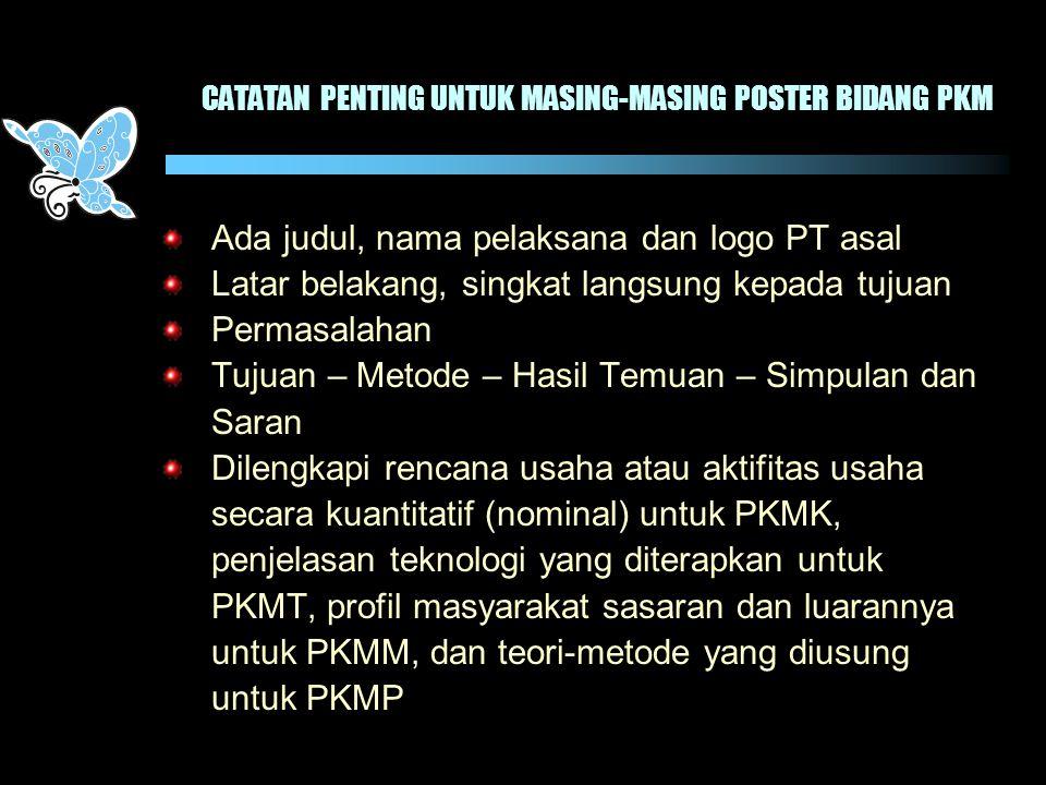 CATATAN PENTING UNTUK MASING-MASING POSTER BIDANG PKM