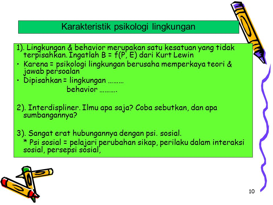 Karakteristik psikologi lingkungan