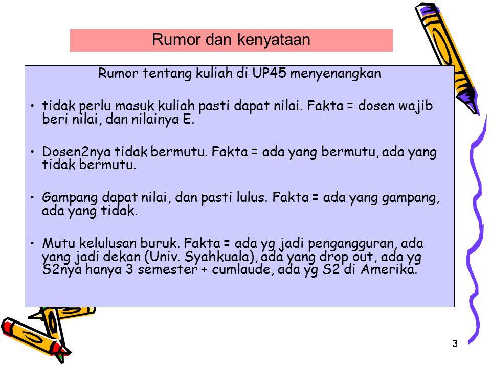Rumor tentang kuliah di UP45 menyenangkan