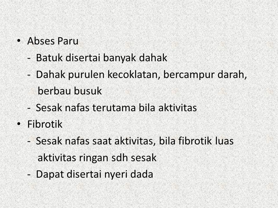 Abses Paru - Batuk disertai banyak dahak. - Dahak purulen kecoklatan, bercampur darah, berbau busuk.