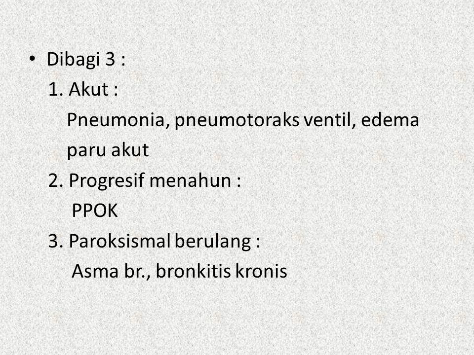 Dibagi 3 : 1. Akut : Pneumonia, pneumotoraks ventil, edema. paru akut. 2. Progresif menahun : PPOK.