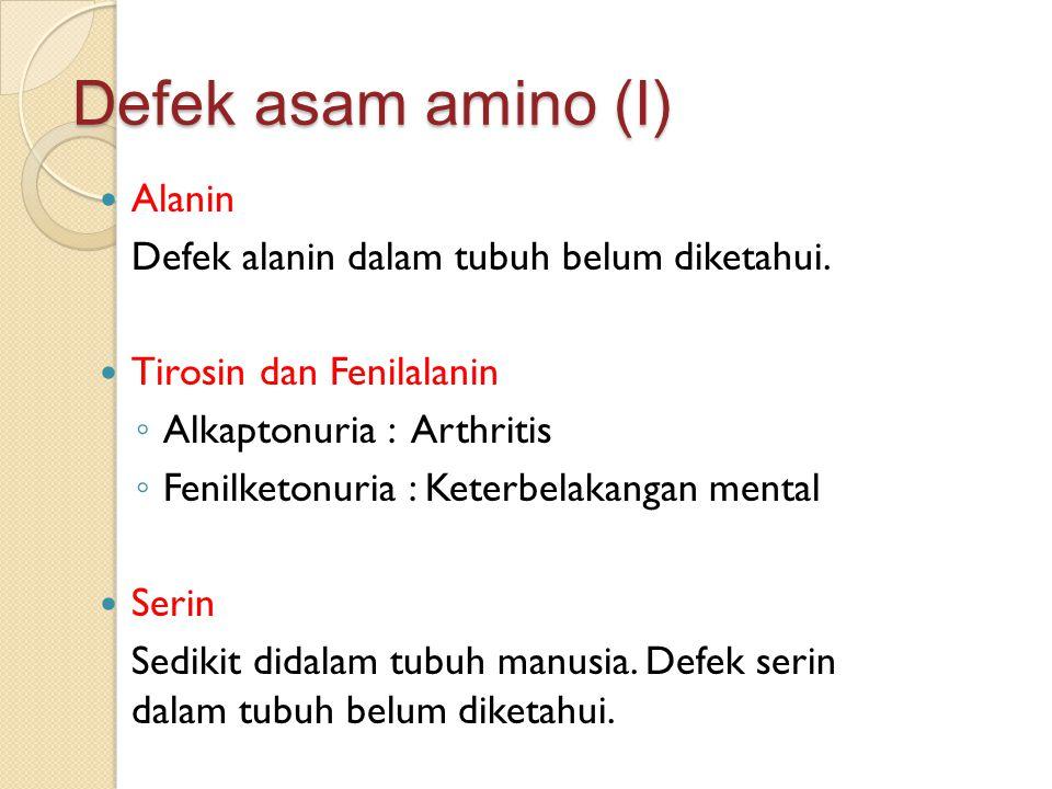 Defek asam amino (I) Alanin Defek alanin dalam tubuh belum diketahui.