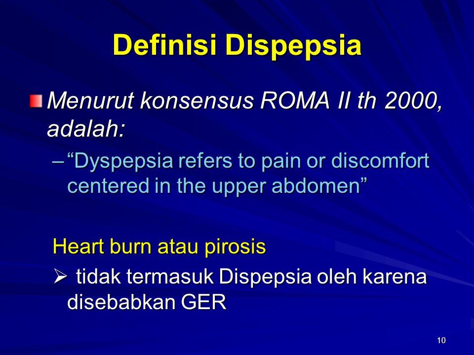 Definisi Dispepsia Menurut konsensus ROMA II th 2000, adalah: