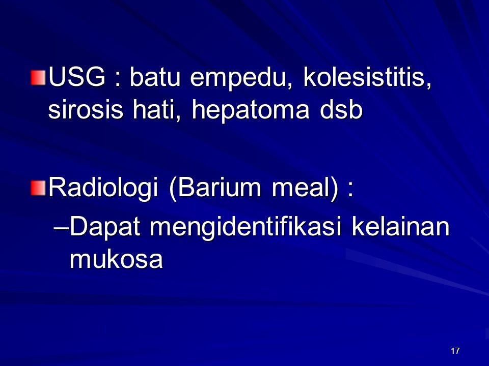USG : batu empedu, kolesistitis, sirosis hati, hepatoma dsb