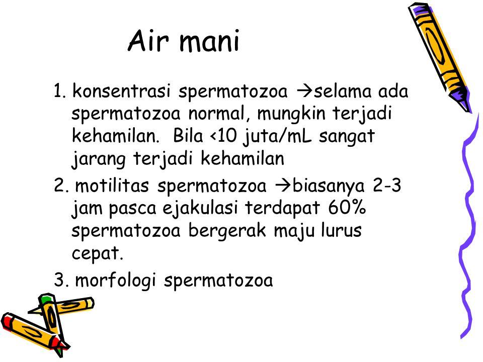 Air mani 1. konsentrasi spermatozoa selama ada spermatozoa normal, mungkin terjadi kehamilan. Bila <10 juta/mL sangat jarang terjadi kehamilan.