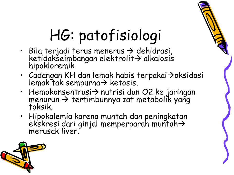 HG: patofisiologi Bila terjadi terus menerus  dehidrasi, ketidakseimbangan elektrolit alkalosis hipokloremik.