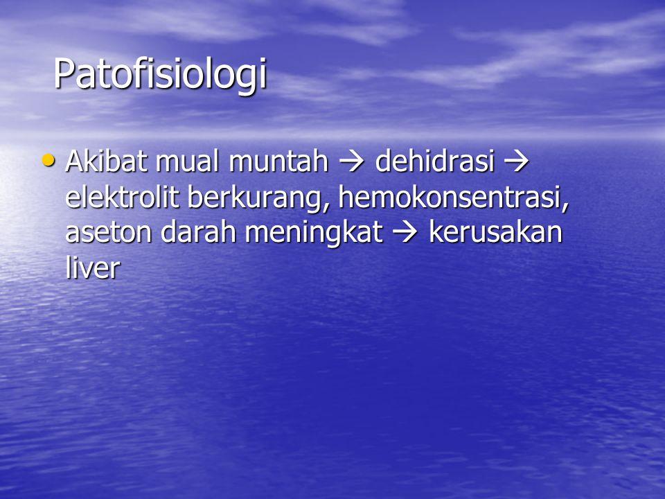 Patofisiologi Akibat mual muntah  dehidrasi  elektrolit berkurang, hemokonsentrasi, aseton darah meningkat  kerusakan liver.