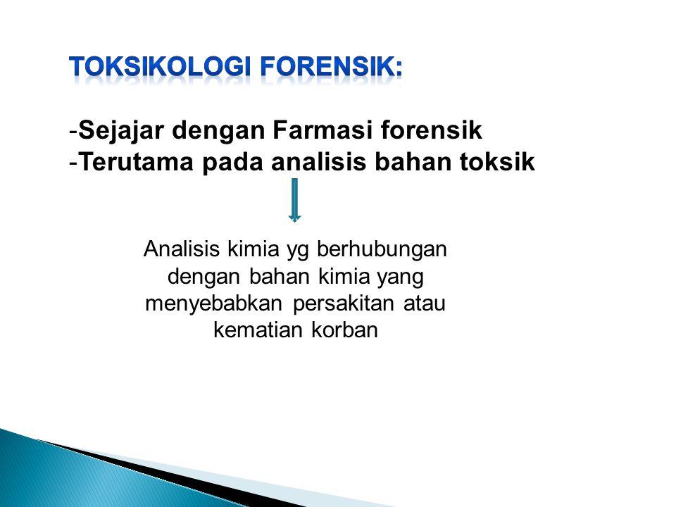 TOKSIKOLOGI FORENSIK: Sejajar dengan Farmasi forensik