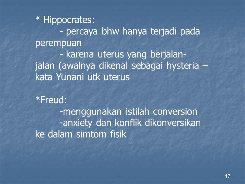 * Hippocrates: - percaya bhw hanya terjadi pada perempuan.