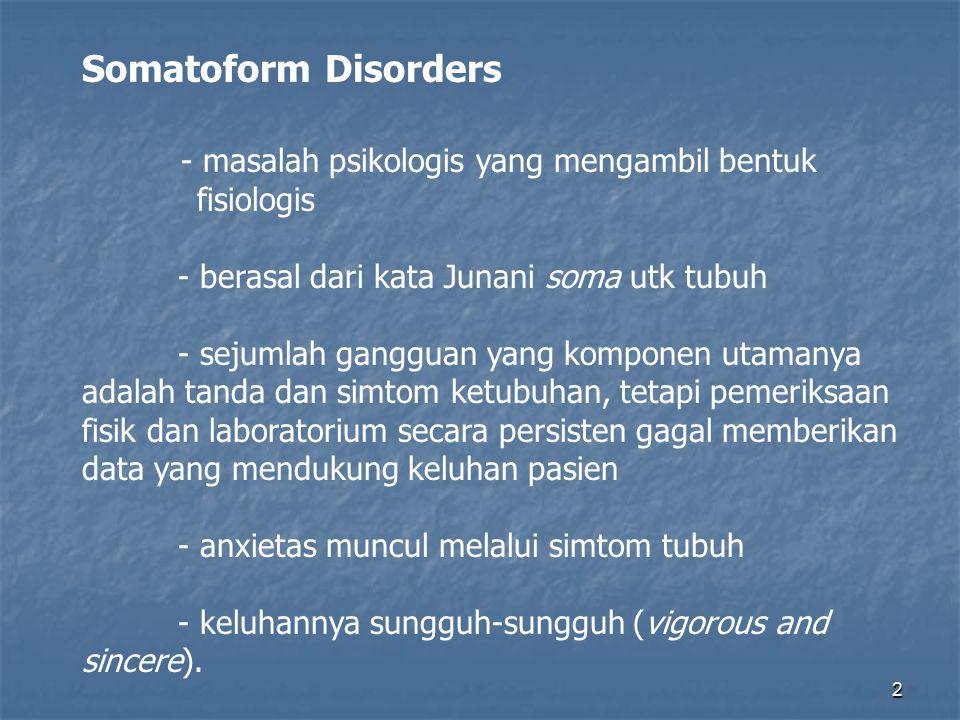 - masalah psikologis yang mengambil bentuk fisiologis